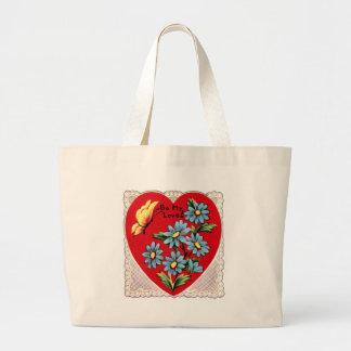 Corazón rojo retro romántico del amor del el día d bolsa tela grande