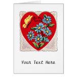 Corazón rojo retro romántico del amor del el día d tarjetón
