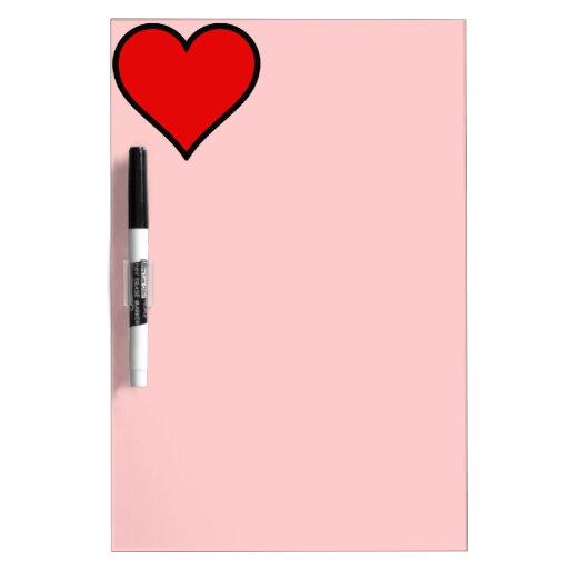 Corazón rojo simple tablero blanco