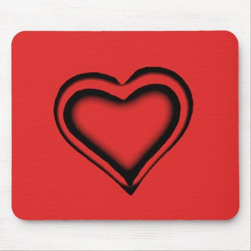 Corazón rojo tapete de ratón
