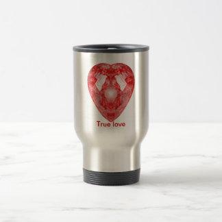 Corazón rojo taza de viaje de acero inoxidable