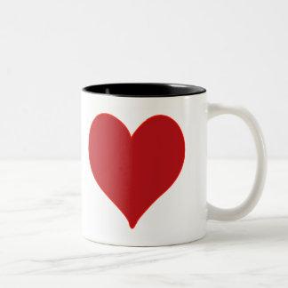 Corazón rojo taza de café de dos colores