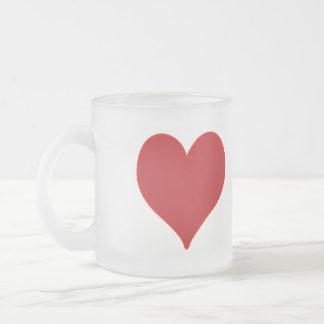 Corazón rojo taza de café esmerilada