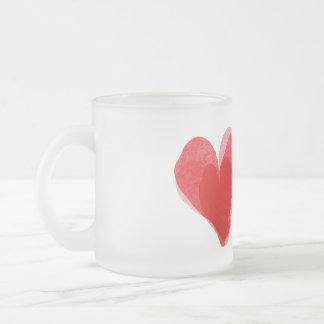 Corazón rojo taza de cristal