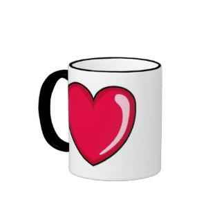 Corazón rojo taza de dos colores