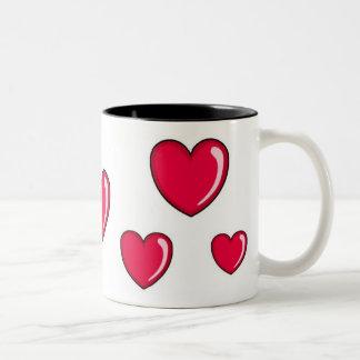 Corazón rojo taza de dos tonos