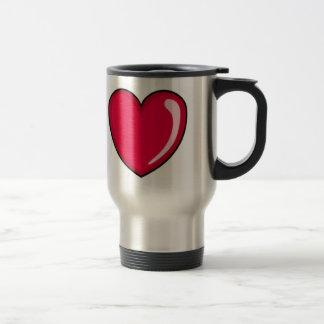 Corazón rojo taza de viaje