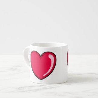 Corazón rojo taza espresso