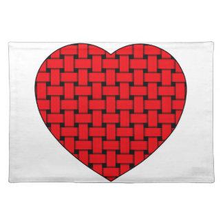 Corazón rojo tejido manteles