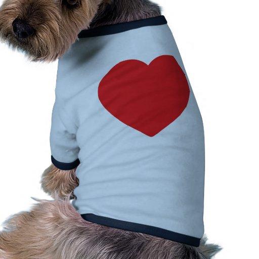 corazón rojo uno camisetas de mascota