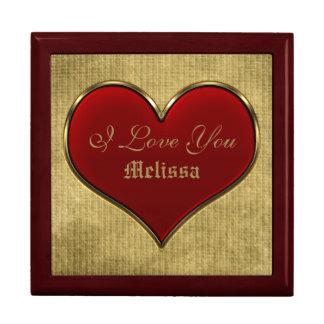 Corazón rojo vivo clásico con la frontera metálica caja de joyas