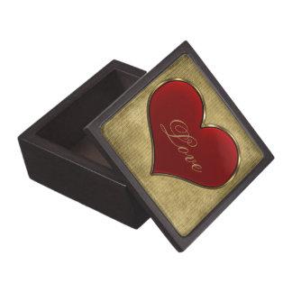 Corazón rojo vivo clásico con la frontera metálica caja de regalo de calidad