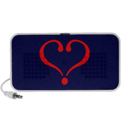 Corazón rojo y amor abierto en día de San Valentín Laptop Altavoz