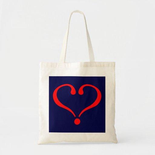 Corazón rojo y amor abierto en día de San Valentín Bolsas De Mano