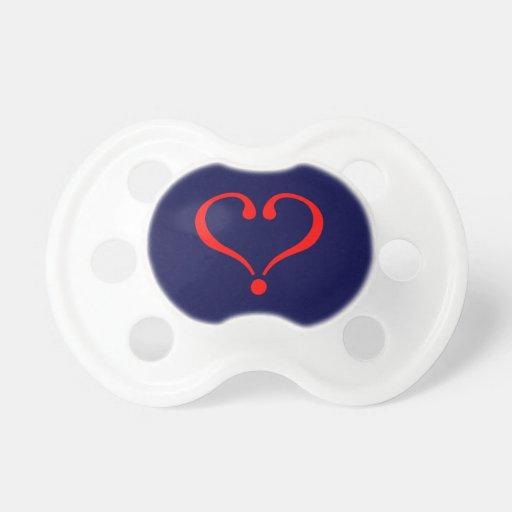 Corazón rojo y amor abierto en día de San Valentín Chupetes De Bebe