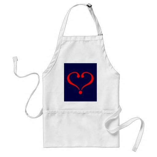Corazón rojo y amor abierto en día de San Valentín Delantales