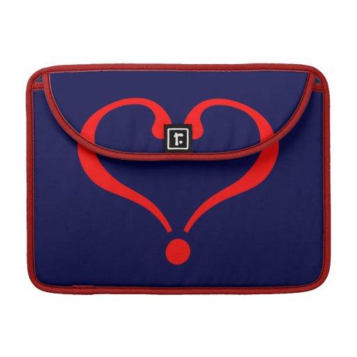 Corazón rojo y amor abierto en día de San Valentín Fundas Para Macbook Pro
