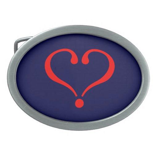 Corazón rojo y amor abierto en día de San Valentín Hebilla Cinturón