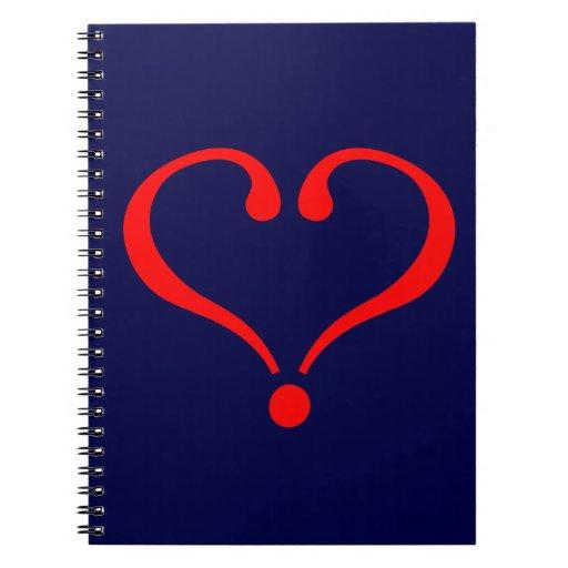 Corazón rojo y amor abierto en día de San Valentín Libretas Espirales