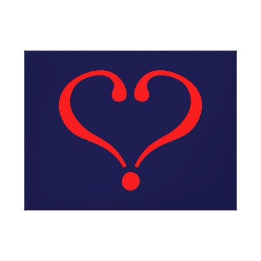 Corazón rojo y amor abierto en día de San Valentín Lona Estirada Galerias