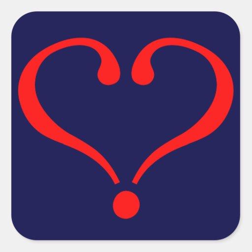 Corazón rojo y amor abierto en día de San Valentín Pegatinas Cuadradases