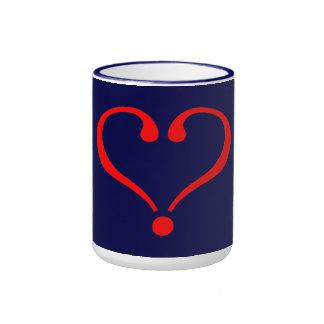 Corazón rojo y amor abierto en día de San Valentín Tazas De Café