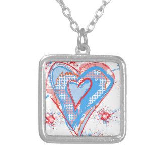 Corazón rojo y azul colgante cuadrado