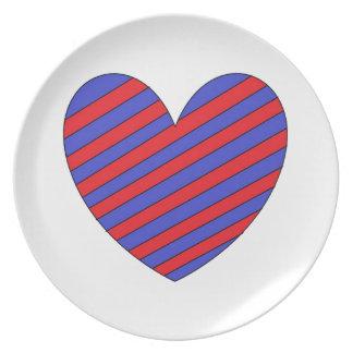 Corazón rojo y azul plato