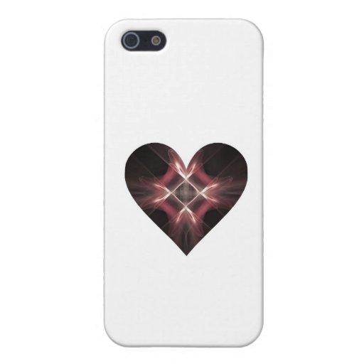 Corazón rojo y negro del arte del fractal iPhone 5 protector