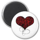 Corazón rojo y negro del Grunge Imán