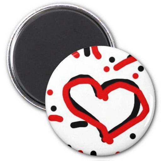 Corazón rojo y negro imanes