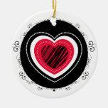 Corazón rojo y negro - ornamento adorno navideño redondo de cerámica