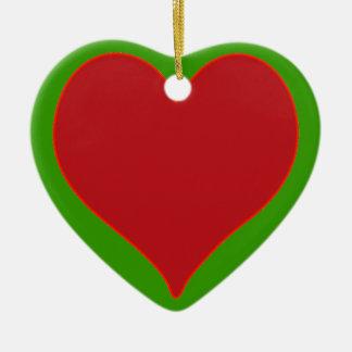 Corazón rojo y verde adorno navideño de cerámica en forma de corazón