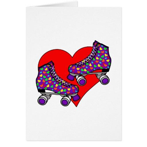 Corazón Rollerskates Tarjeta De Felicitación