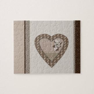 Corazón romántico con la flor puzzle