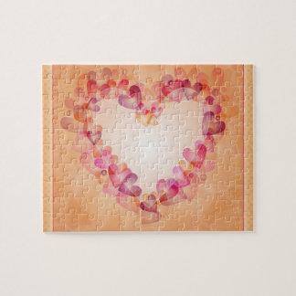 Corazón romántico con los corazones puzzle