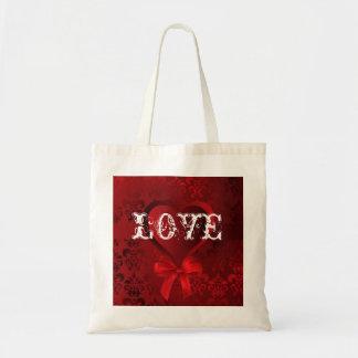 Corazón romántico del amor de las tarjetas del día bolsa tela barata