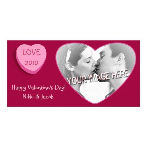 Corazón romántico del caramelo personalizado tarjetas fotograficas
