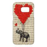 Corazón romántico del elefante funda samsung galaxy s7