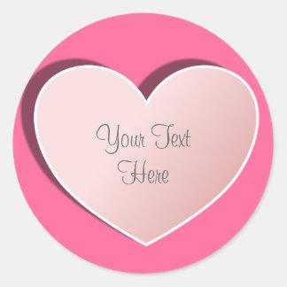 Corazón romántico rosado del amor pegatina redonda