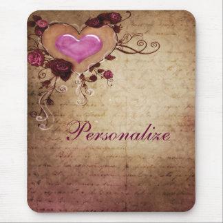 Corazón romántico y rosas Mousepad del vintage