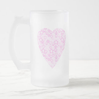Corazón rosa claro. Diseño modelado del corazón Taza De Cristal