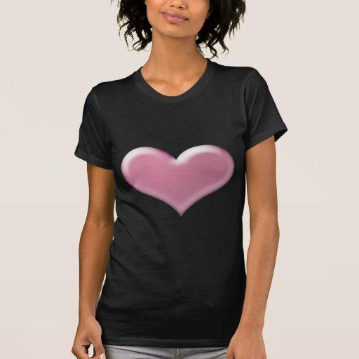corazón rosado 3D Poleras