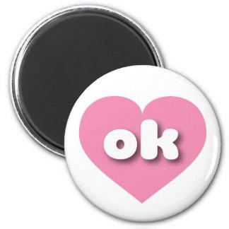 Corazón rosado aceptable de Oklahoma Imán Redondo 5 Cm