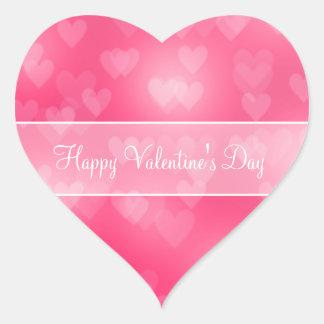 Corazón rosado Bokeh Pegatina En Forma De Corazón