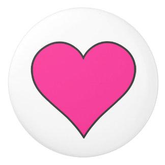 Corazón rosado/botón de cerámica pomo de cerámica