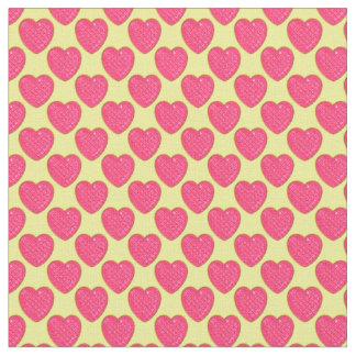 Corazón-Rosado brillante y Amarillo-Tela Telas
