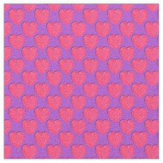 Corazón-Rosado brillante y Púrpura-Tela Telas