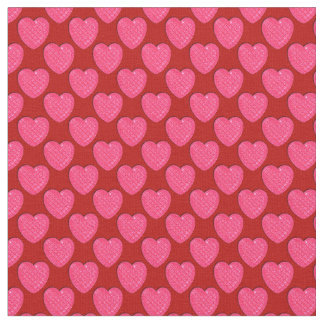 Corazón-Rosado brillante y Rojo-Tela Telas
