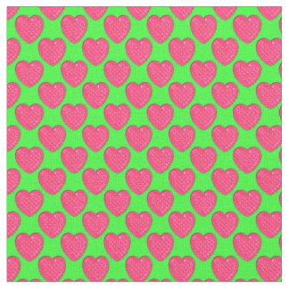 Corazón-Rosado brillante y Verde-Tela Telas